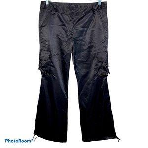 Express Black Satin Cargo Pants Size 12